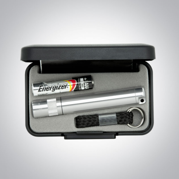 Corporate Gift Silver Flashlight with Keychain